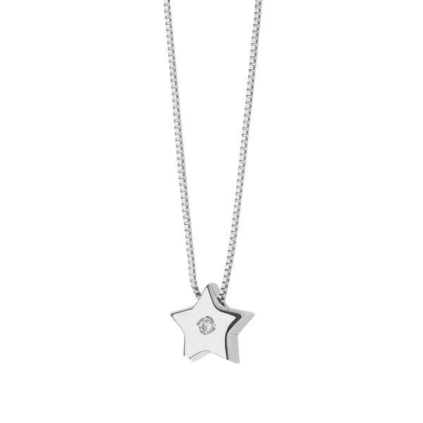 """Collana Donna Comete Gioielli """"Collezione Cuori"""" in oro 750/00 e diamanti GLB 1264"""
