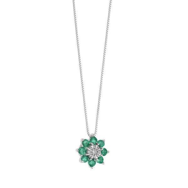 """Collana Donna Comete Gioielli """"Fiore"""" in oro 750/00 e pietre preziose GLB 1445"""
